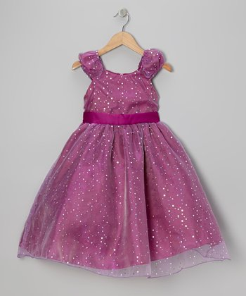 Magenta Sequin Dress - Girls