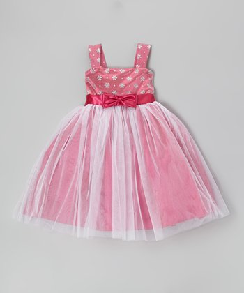 Fuchsia Flower Bow Dress - Toddler & Girls