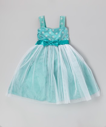 Jade Flower Bow Dress - Toddler & Girls