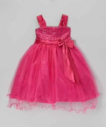 Fuchsia Sequin Swirl Bow Dress - Girls