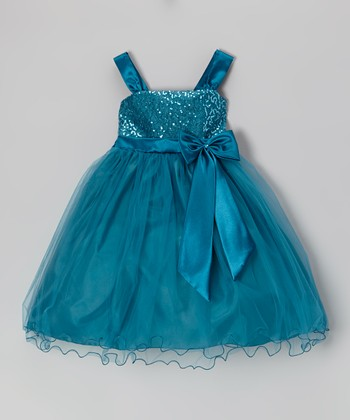 Teal Sequin Swirl Bow Dress - Girls
