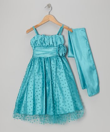 Jade Heart Overlay Dress & Shawl - Toddler & Girls