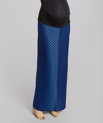 Blue Chevron Maternity Maxi Skirt - Women