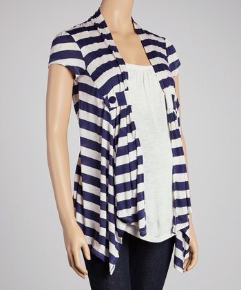 Navy Stripe Layered Maternity Top - Women