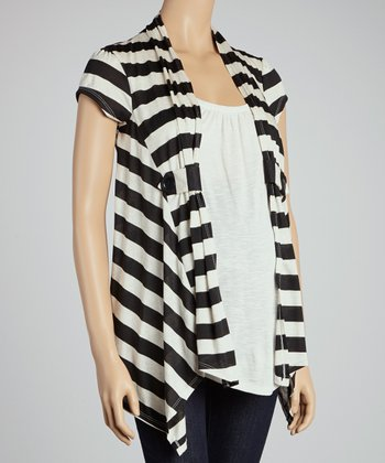 Black Stripe Layered Maternity Top - Women