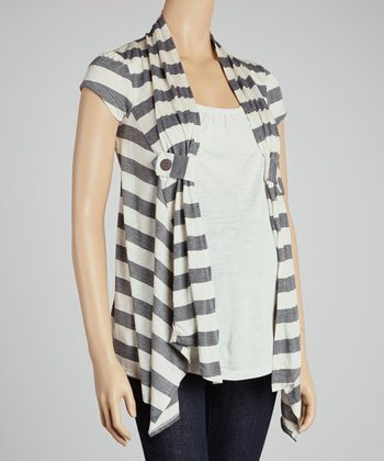Gray Stripe Layered Maternity Top - Women