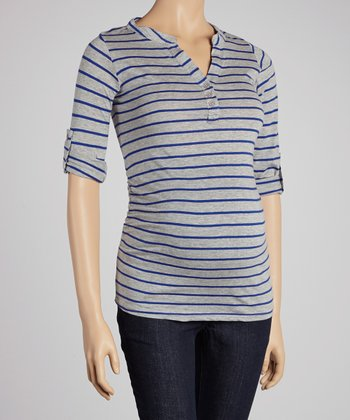 Heather & Cobalt Maternity V-Neck Top - Women