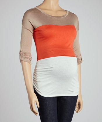 Mocha Color Block Maternity Top