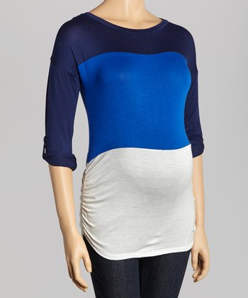 Navy Color Block Maternity Top