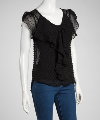 Black Sheer Polka Dot Ruffle Top