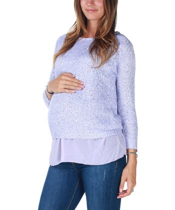 Lavender Sparkle-Knit Maternity Sweater