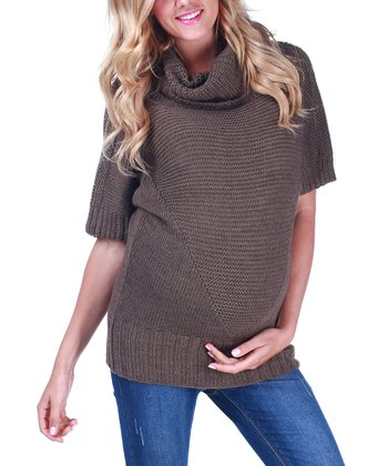 Mocha Cowl Neck Wool-Blend Maternity Top