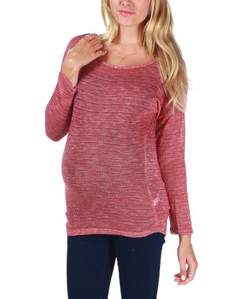 Red Knit Long-Sleeve Maternity Top