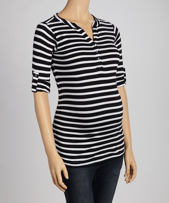 Black & White Stripe Ruched Maternity Henley Top - Women