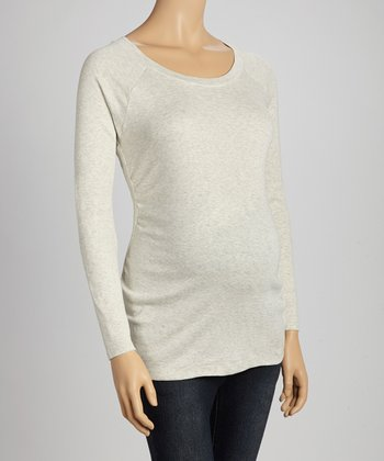 Oatmeal Ruched Maternity Long-Sleeve Top