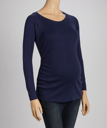 Navy Ruched Maternity Long-Sleeve Top - Women