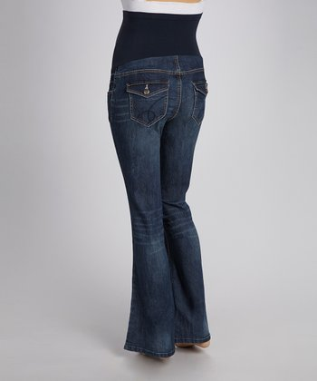 Medium Dark Wash Over-Belly Bootcut Maternity Jeans - Plus