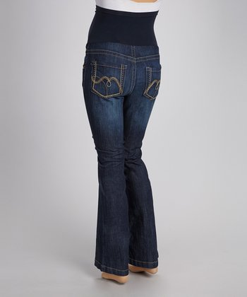 Rinse Over-Belly Dark Wash Straight-Leg Maternity Jeans
