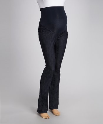 Sandblast Dark Wash Over-Belly Straight-Leg Maternity Jeans