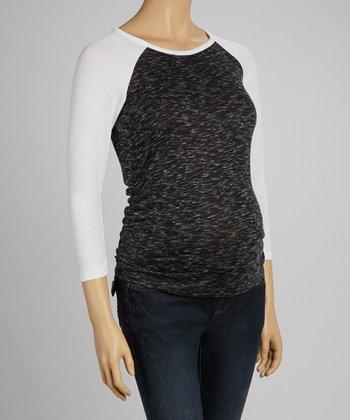 Mom & Co. Black & White Maternity Raglan Top - Women
