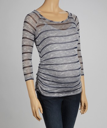 Navy Yarn-Stripe Maternity Top - Women