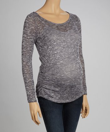 Navy Hacci Maternity Scoop Neck Top - Women