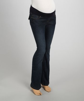 Dark Blue Embroidered-Pocket Maternity Jeans