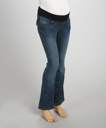 Dark Wash Embroidered Maternity Jeans - Women