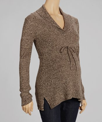 Brown & Crème Marbled Maternity Sweater