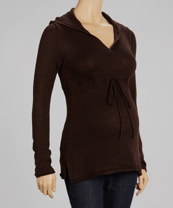 Brown Hooded Maternity Top