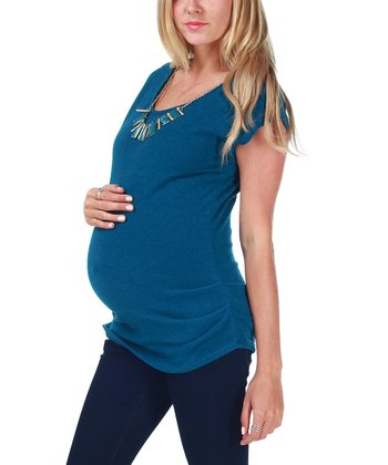 Jade Knit Maternity Top & Necklace