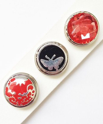 Red & Black Butterfly Charm Set