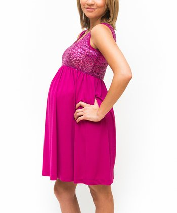 Fuchsia Sequin Maternity Empire-Waist Dress