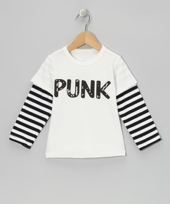 White & Black Stripe 'Punk' Layered Tee - Toddler & Kids