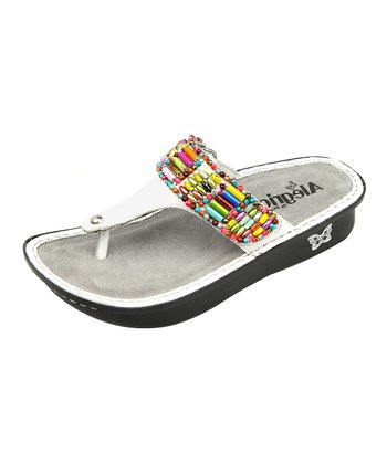 White Bead Party Sandal - Women