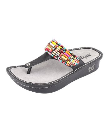 Black Bead Party Sandal - Women
