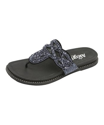 Black Suede Beaded Sandal - Women