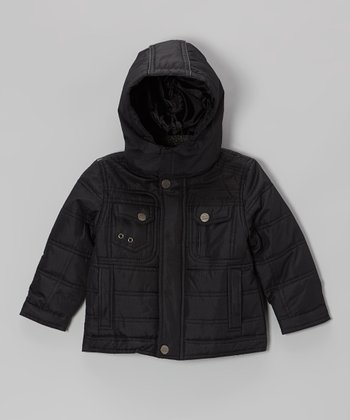 Black Quilted Hooded Jacket - Toddler & Boys