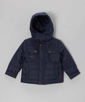 Navy Quilted Hooded Jacket - Toddler & Boys