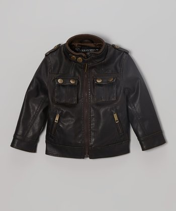 Tobacco Brown Moto Jacket  - Toddler & Kids