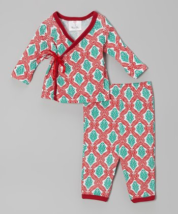 Red Christmas Damask Wrap Top & Pants - Infant