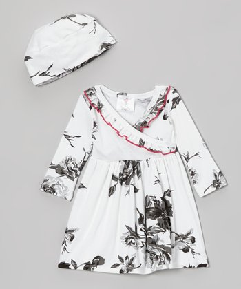 Black & White Floral Surplice Dress & Beanie - Infant & Toddler
