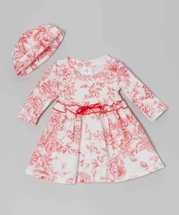 Red Toile Babydoll Dress & Beanie - Infant & Toddler