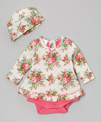 Pink Bouquet Skirted Bodysuit & Beanie - Infant