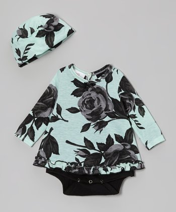 Mint Roses Skirted Bodysuit & Beanie - Infant