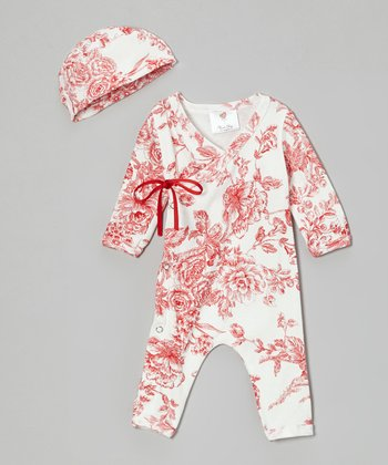 Red Toile Wrap Playsuit & Beanie - Infant
