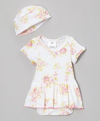 Pink & Green Floral Skirted Bodysuit & Beanie - Infant