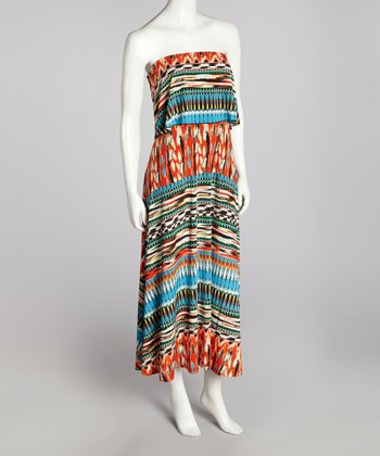 Orange & Blue Strapless Maxi Dress
