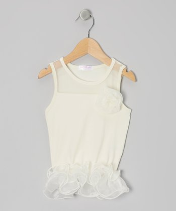 Ivory Curly Tutu Peplum Tank - Toddler & Girls