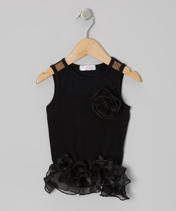 Black Curly Tutu Peplum Tank - Toddler & Girls